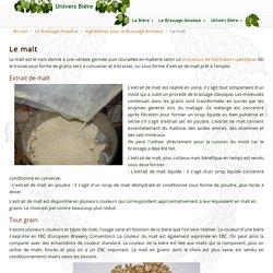 Ingrédients pour le brassage amateur - malt