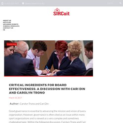 Critical Ingredients for Board Effectiveness: A Discussion with Cari Din and Carolyn Trono