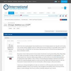 IFSQN - JUIN 2015 - Discussion : Vinegar Addition as a CCP?