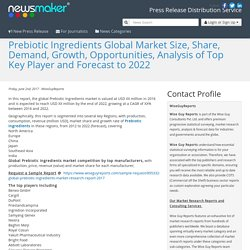 Prebiotic Ingredients Global Market Size, Share, Demand, Growth, Opportunities, Analysis of Top Key Player and Forecast to 2022