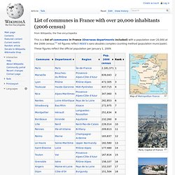 List of communes in France with over 20,000 inhabitants (2006 census)