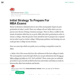 Initial Strategy To Prepare For MBA Exams