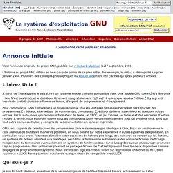 Annonce initiale - Projet GNU