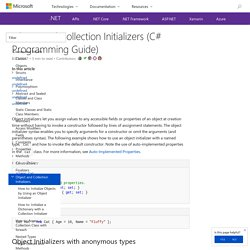 Object and Collection Initializers (C# Programming Guide)