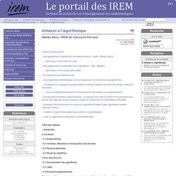 Initiation à l'algorithmique - Le portail des IREM