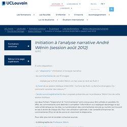 Initiation à l'analyse narrative André Wénin (session août 2012)