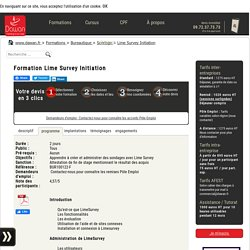 Formation Lime Survey Initiation à Nantes, à Paris, à Lyon, à Lille, à Aix en Provence, à Bordeaux, à Rennes, à Montpellier, à Toulouse, à Strasbourg, formation DIF Lime Survey Initiation