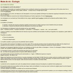 Initiation à la mycologie: Mode de vie et écologie
