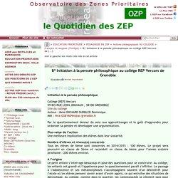 Initiation à la pensée philosophique au collège REP Vercors de(...)