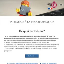 Articles – INITIATION À LA PROGRAMMATION