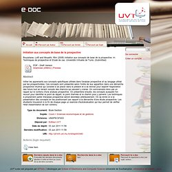 Initiation aux concepts de base de la prospective - UVT e-doc
