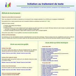 Initiation au traitement de texte WORD, Initiation à Word par des exemples guidés