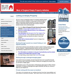 Letting an Empty Property - No Use Empty Property Initiative - West of England Authorities