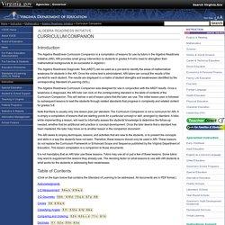 Algebra Readiness Initiative Curriculum Companion