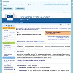 Initiative details - European Citizens' Initiative