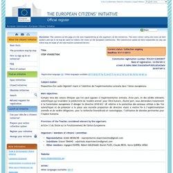 Informations concernant l'initiative – Initiative citoyenne européenne - Commission européenne
