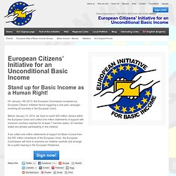 30 jours... European Citizens' Initiative for an Unconditional Basic Income » Basic Income European Citizens' Initiative