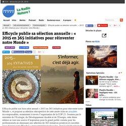 Efficycle publie sa sélection annuelle : « 2015 en 365 initiatives pour réinventer notre Monde »