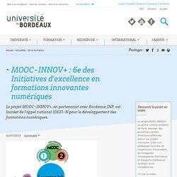 MOOC-INNOV+ : 6e des Initiatives d'excellence en formations innovantes numériques
