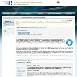 "Appel à projets ""Initiatives d'excellence en formations innovantes (IDEFI)"" - Investissements d'Avenir"