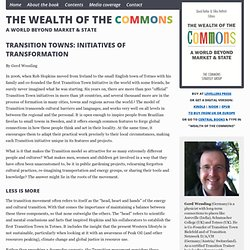 Transition Towns: Initiatives of Transformation