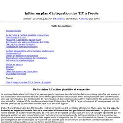 Initier un plan d'intégration des TIC à l'école