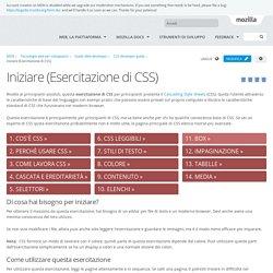 Iniziare (Esercitazione di CSS)