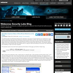 New Mass Injection Wave of WordPress Websites on the Prowl