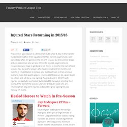 Injured Stars Returning in 2015/16