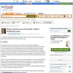 Propos injurieux sur Facebook : affaire Webhelp (suite)
