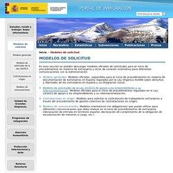 Portal de Inmigración Ministerio de Empleo y Seguridad Social: Modelos de solicitud