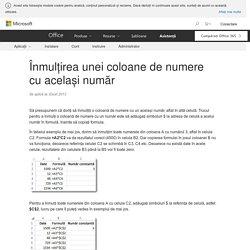 Înmulțirea unei coloane de numere cu același număr