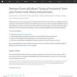 "Remove iTunes gift album ""Songs of Innocence"" from your iTunes music library and purchases"