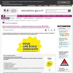 Synthèse travaux Cniré 2014-2016 - Pour une École innovante :