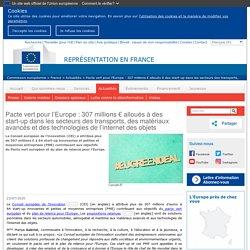 EUROPA_EU 23/07/20 Pacte vert pour l'Europe : 307 millions € alloués à des start-up dans les secteurs des transports, des matériaux avancés et des technologies de l'internet des objets