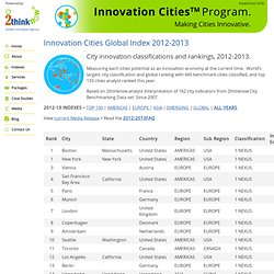Innovation Cities Global Index 2012-2013 from 2thinknow : City Rankings List » Innovation Cities Program & Index: City Innovation for USA, Canada, Australia/NZ, Europe, Asia, Latin America, Mid-East