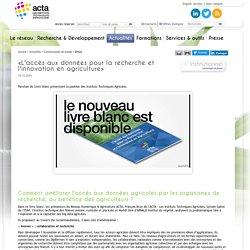 ACTA 18/10/16 «L'accès aux données pour la recherche et l'innovation en agriculture»