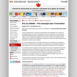 CRSNG - Prix Synergie pour l'innovation - Appel de candidatures