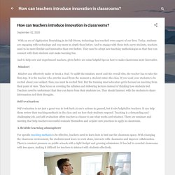 How can teachers introduce innovation in classrooms?