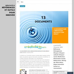 13 documents sur l'innovation sociale et son impact