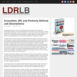 Innovation, HR, and Perfectly Defined Job Descriptions