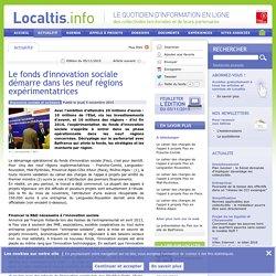 Le fonds d'innovation sociale démarre dans les neuf régions expérimentatrices - Localtis.info - Caisse des Dépôts