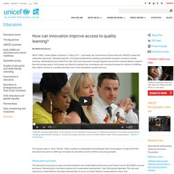 How can innovation improve access to quality learning?