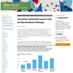 Innovation Leadership Lessons from the Marshmallow Challenge