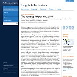 The next step in open innovation - McKinsey Quarterly - Operations - Product Development