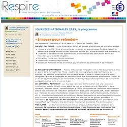 Blog de Journées nationales de l'innovation 2013 : JOURNEES NATIONALES 2013, le programme