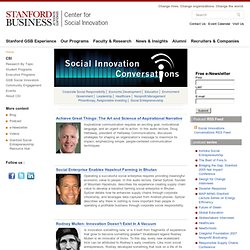 Social Innovation Audio Lectures | Social Innovation Conversations