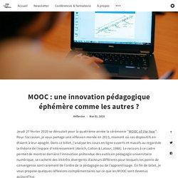 MOOC : une innovation pédagogique éphémère comme les autres ?