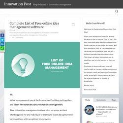 Innovation PostComplete List of Free online idea management software - Innovation Post