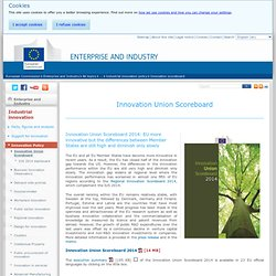Innovation Union Scoreboard - Industrial innovation - Enterprise and Industry
